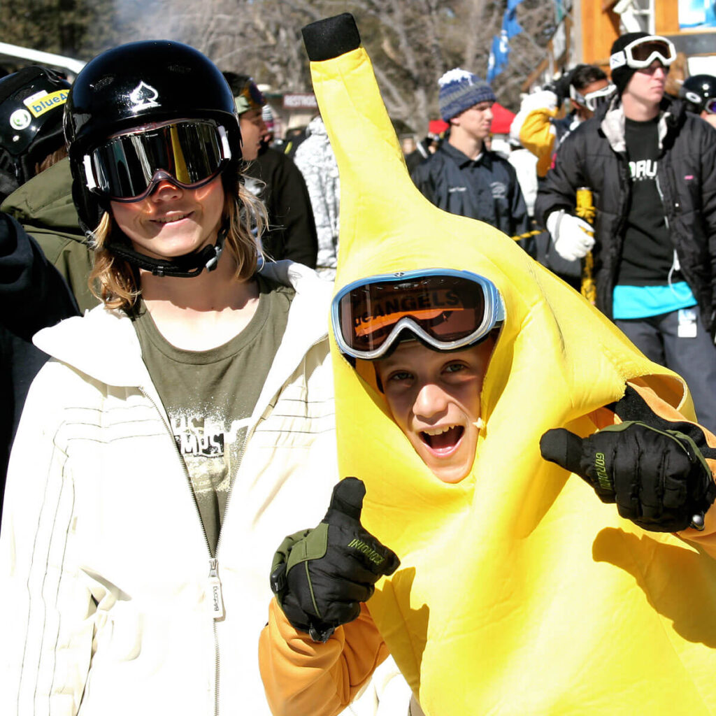 Crazy Helmet (or make that Crazy Suit Day) at Mountain High - Blue Angel Snow Kids have some fun!