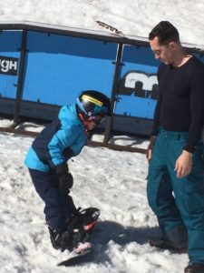 Blue Angel Snow Teaches Kids to Snowboard